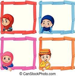 cadre, ensemble, enfants, musulman