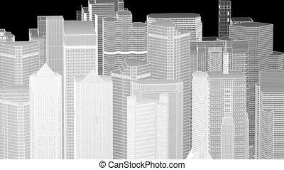 cadre, fil, cityscape, boucle, seamless