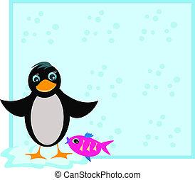 cadre, fish, manchots