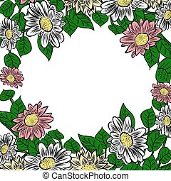 cadre, fleurs, hand-drawn, coloré