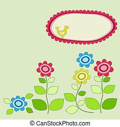 cadre, flowers., jardin, oiseau