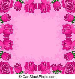 cadre, fond, fleurs
