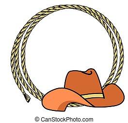cadre, fond, hat., occidental, vecteur, illustration, corde, cow-boy, texte