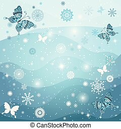 cadre, hiver, flocons neige, butterflirs