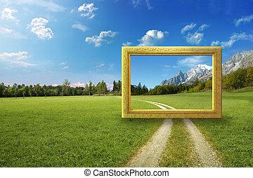 cadre, idyllique, paysage