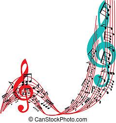 cadre, illu, musical, fond, thème, vecteur, musique, élégant, notes