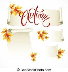 cadre, -, illustration, rouleau, automne, vecteur, feuilles