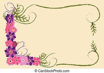 cadre, l, floral, initiale, lettrage, décoration