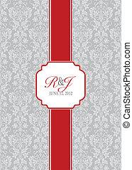 cadre, long, vecteur, arrière-plan rouge, ruban
