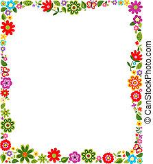 cadre, modèle, frontière, floral
