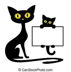 cadre, noir, cat., chaton