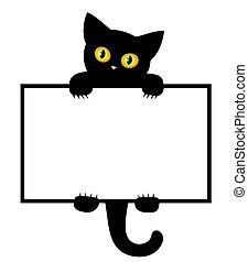 cadre, noir, kitten.
