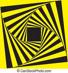 cadre, noir, spirale, jaune