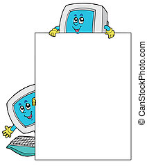 cadre, ordinateurs, deux, vide