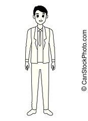 cadre, ouvrier, dessin animé, noir, homme affaires, blanc, sourire