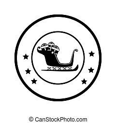 cadre, présente, santa, traîneau, monochrome, circulaire