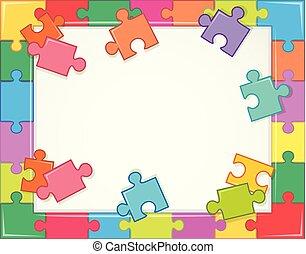 cadre, puzzle, gabarit, morceaux