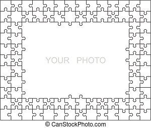 cadre, puzzle, ou, frontière