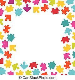 cadre, puzzle, pieces., coloré