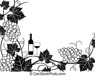 cadre, raisins, illustration