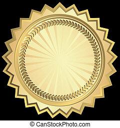 cadre, rond, doré, (vector)