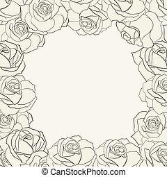 cadre, roses.