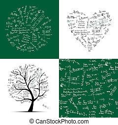 cadre, seamless, arbre, fond, collection:, math