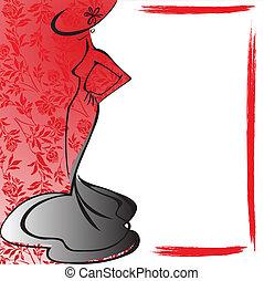 cadre, silhouette, femme