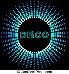 cadre, soundwave, retro, fond, disco