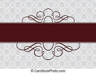 cadre, vecteur, bourgogne, ruban