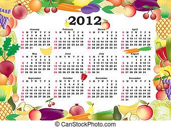 cadre, vecteur, calendrier, coloré, 2012