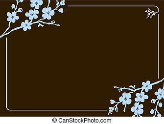cadre, vecteur, floral
