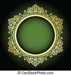 cadre, vecteur, vert, or, &