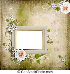 cadre, vendange, fond, roses