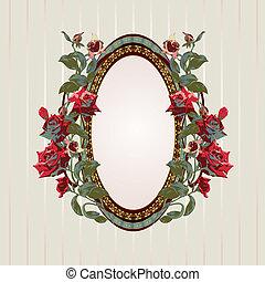 cadre, vendange, roses, floral