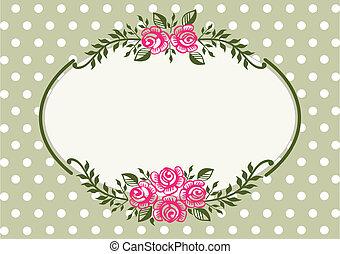 cadre, vendange, vert, roses