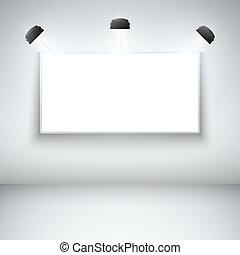 cadre, vide, galerie, éclairé
