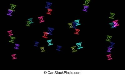 cadre, voler, amour, noir, arc-en-ciel, tout, coloré, texte, cœurs, écran, forme