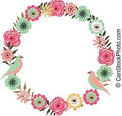 cadre, wirh, floral, oiseaux