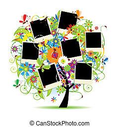 cadres, arbre, album., ton, floral, famille, photos.