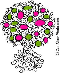 cadres, décoratif, conception, arbre, ton