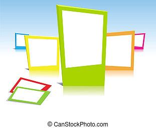 cadres, photo, vecteur, art, coloré