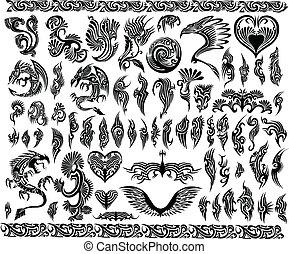 cadres, tatouage, ensemble, frontière, dragons