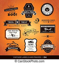 cadres, vendange, étiquettes, halloween