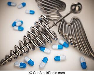 caducée, pilules, symbole., pharmacie