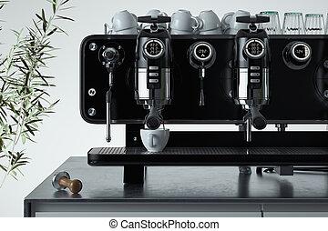 café, 3d, petit déjeuner, it., time., machine, blanc, tasses, argent, au-dessus, rendering., métallique