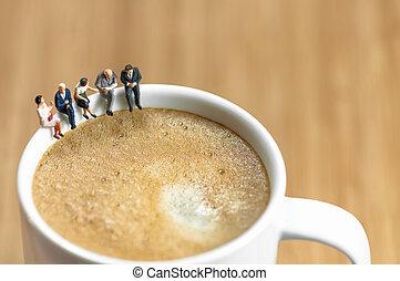 café, affaires cassent, miniature, équipe, avoir