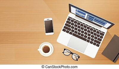 café, angle, espace, ordinateur portable, téléphone portable, informatique, lieu travail, bureau, copie, sommet, intelligent, vue