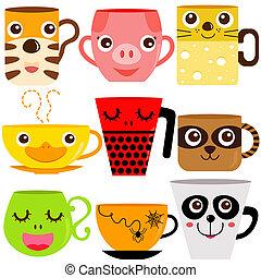 café, animaux, grande tasse, tasse