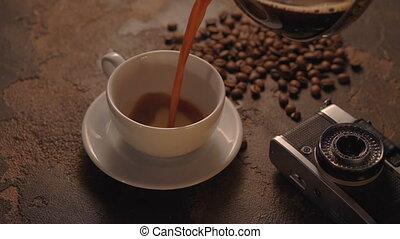 café, appareil photo, retro, tasse